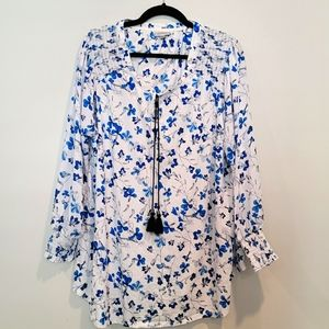 Avenue White and Blue Flower Print Blouse